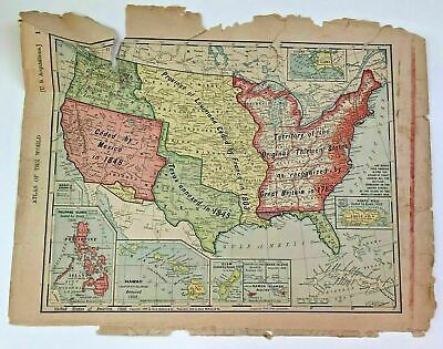 Antique 1904 Map of United States By Rand McNally Co  US As Acquired 1700 & 1800