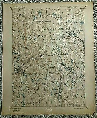 1917 Geological Survey Topographic Map MA Winchendon Gardner Templeton & Others