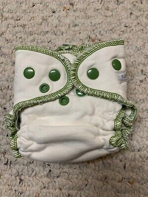 XS, Sustainablebabyish Fitted Cloth Diaper, Newborn Size. Green Stitch