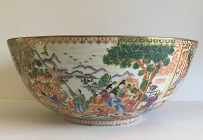 LARGE CHINESE PORCELAIN CENTERPIECE DECORATIVE BOWL Colorful Scenes Gold Accents