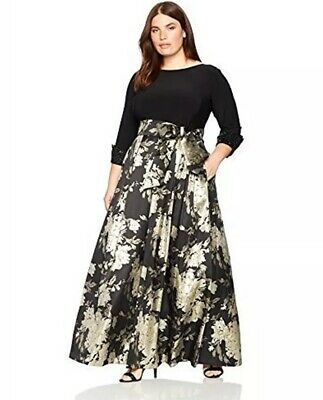 Eliza J Gown 12 Black Gold Ball Floral Dress Beaded Sleeve