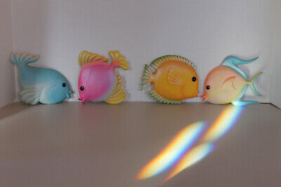Set Of 4 Cute Colorful Tropical Resin Fish Wall Plaques
