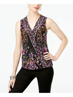 INC Womens Black Floral Sleeveless V Neck Wrap Casual Top Regular Size: XL
