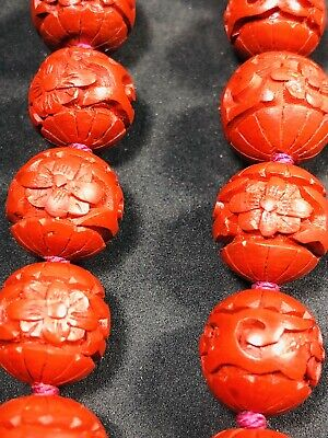 Chinese Red Carved Lacquer Cinnabar Pearl Necklace 20 Inches Tall