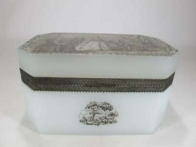 Gorgeous antique engraved opaline box, French, 19th century, signed.