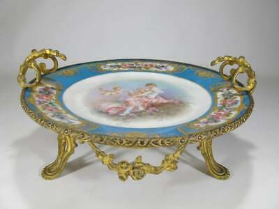 Very beautiful antique  French Sevres bronze and porcelain tray.