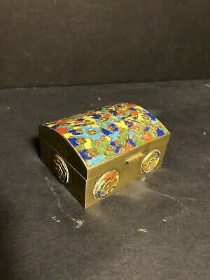 Old Antique Brass Bronze Enamel Hinged Trinket Box China Floral Bird Repousse!