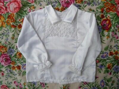 Vintage 70s new old stock 6 mo - 1 year children's baby silky white top shirt UK