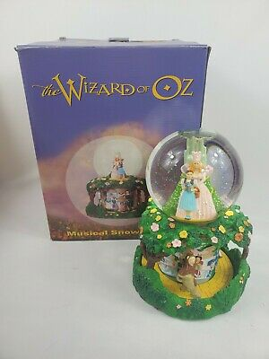"""LARGE Wizard Of Oz Musical Snow Globe Plays """"Over the Rainbow"""" Yellow Brick Road"""