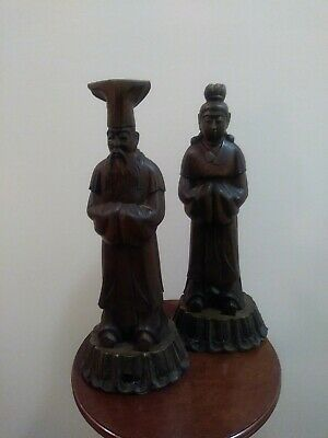 Vintage Asian Hand Carved Wood Sculptures Antique Man and Woman Figurines