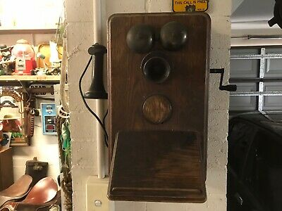Antique Collectable Wooden Wall Phone Telephone 1920s