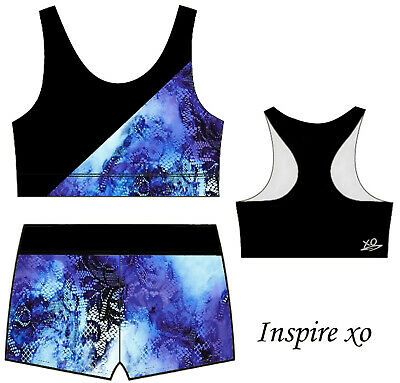Watercolour Crop Sports Bra & Shorts Set - Girls Sizes - Gymnastics Dance Gym