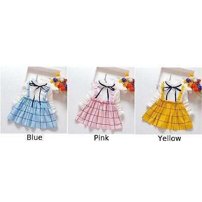 Toddler Kids Baby Girl Plaid Patchwork Dress Long Sleeve Casual Dress Clothes