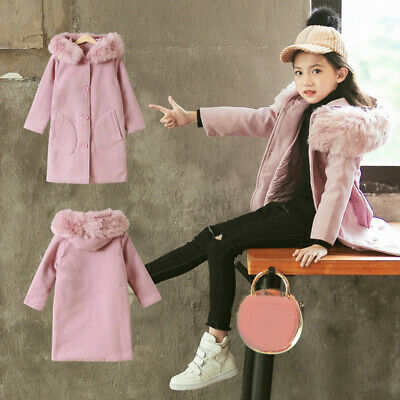 Kids Coat Girls Winter Warm Parka Jacket Long Faux Fur Hooded Coats 4-10 Years
