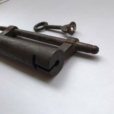 Iron padlock lock key SCREW TYPE Old or antique nice decorative shape.