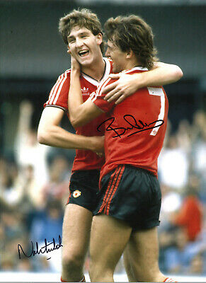 Bryan Robson Norman Whiteside Manchester United signed football photograph SS512