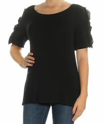 INC Womens Black Short Sleeve Jewel Neck Casual Top Regular Size: L