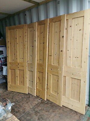 Reclaimed Victorian 4 Panel Stripped & Waxed Pine Doors