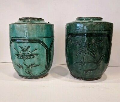 Pair of Antique Chinese Glazed Green Ceramic Food Jar with Bird and Flower