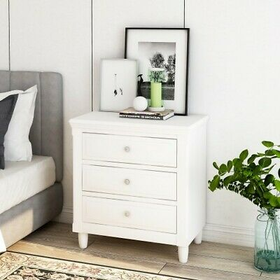 3 Drawers Nightstand Storage Wood End Table Bedside Organizer Modern White Solid