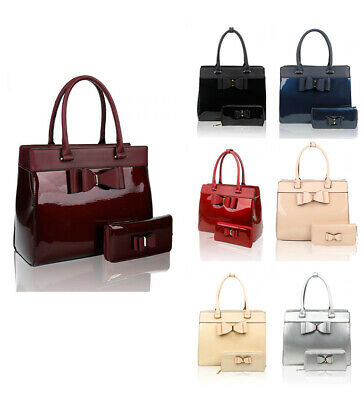 New Womens Elegant Patent Leather Large Handbag Tote Shoulder Bag with Purse
