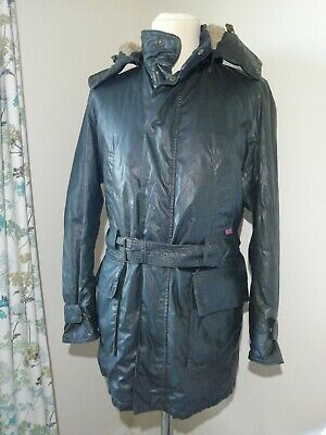 Belstaff Hooded Wax Coat Jacket Lined Black Prince Label The Aviator DAMAGED