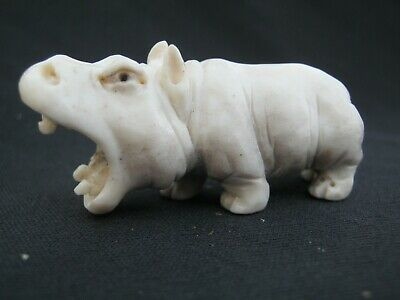 Beautiful Finely Carved Hippo Hippopotamus In Stag Antler From A Red Deer