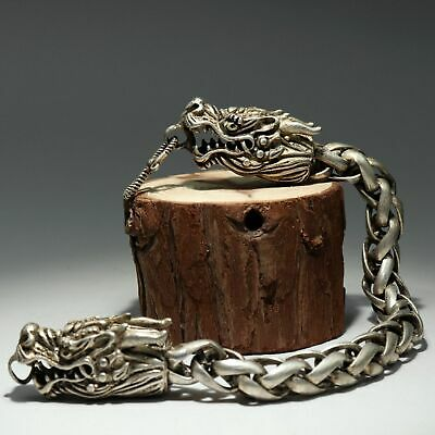 Collectable China Old Miao Silver Hand-Carved Myth Dragon Auspicious Bracelet