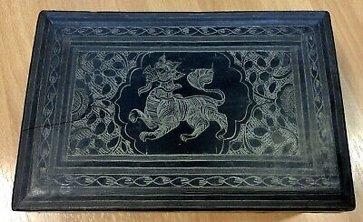 Vintage Lightweight Laquered Wood Box With Dragon Decoration