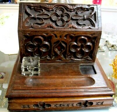 """Unique Victorian ca1890 Church Shaped Carved 13"""" Oak Writing / Letter Box"""