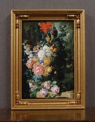 FRAMED  PICTURE ~ Floral ~  Dollhouse Miniature ~ 1:12 scale ~ Room Box
