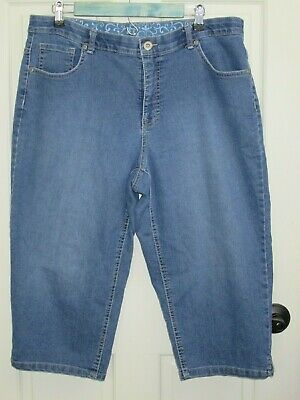 Faded Glory Womens Size 18W (36x19) Capri Jeans Stretch Comfort Band 16-18522