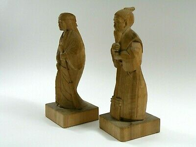"""Extremely RARE Antique Mongolian Hand Carved Wooden 10"""" Figurines"""