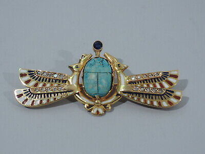 Egyptian Scarab Brooch - Antique Style Revival Pin  14K & Enamel  C 1920