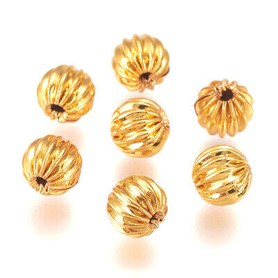 20pcs Golden Brass Corrugated Beads Round Mini Metal Loose Spacer Crafting 5mm
