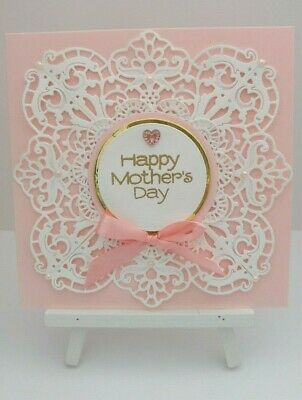 Handmade Mother's Day Card: Cut Lace Doily (Pink)
