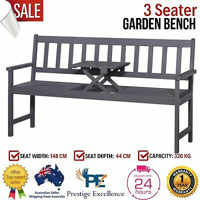 Garden Bench Seat Outdoor Chair Patio Lounge Park Wooden 3 Seater w Pop up Table