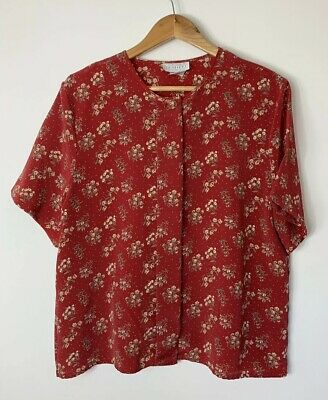 Katies Vintage 80s Size 14 Top Red Yellow Floral Boxy Blouse