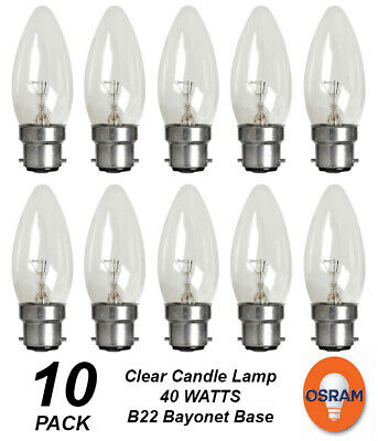 8x 40W Clear Bent Tip Candle Dimmable Light Bulb SES E14 Small Edison Screw Lamp