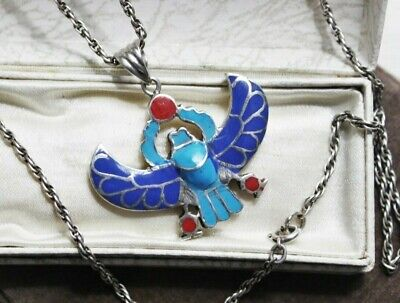 ART DECO Vintage STERLING Silver Red Blue Enamel Wing Scarab Pendant Necklace