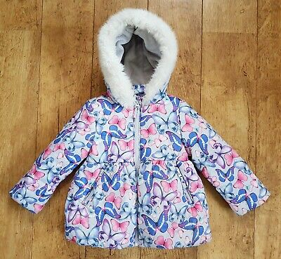M&S Girls Butterfly Warm Winter Coat Faux Fur Hood 12-18 Months 1-1.5 Years