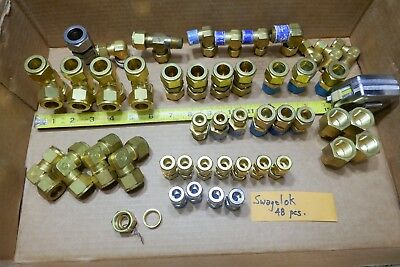 LOT OF 48 MISC. SWAGEL COMPRESSION BRASS FITTINGS (11 pounds) COUPLINGS ELBOWS
