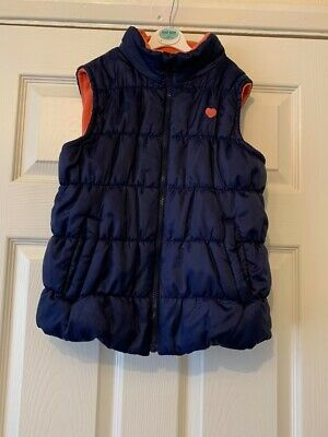 Girls F&F Navy Blue Quilted Bodywarmer Gilet Pink Fleece Lined 11-12 Years B51