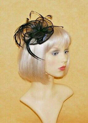 Elegant Black Sinamay Flower & Feathers Fascinator on Hair Clip.
