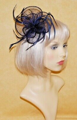 Elegant Navy Blue Sinamay Flower & Feathers Fascinator on Hair Clip.