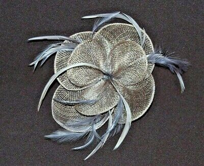 Elegant Grey Sinamay Flower & Feathers Fascinator on Hair Clip.