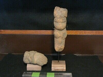 Pre Columbian, Volcanic Stone, Meso American Zone, Two Aztec Carvings, 1200 1520