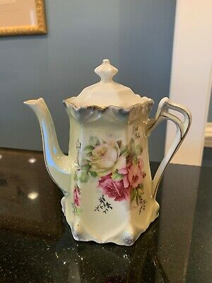Antique Germany Luster Porcelain Tea/coffee Pot w/ Lovely Roses!