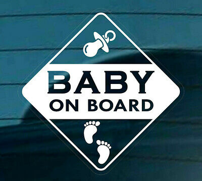 BABY ON BOARD Self-Adhesive STICKER SIGN CAR WINDOW Footprints Reverse White +