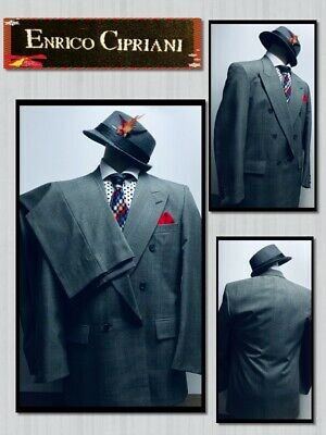 ENRICO CIPRIANI 42L WOOL Blend Gray Double Breasted SUIT 36x31 Pleat Pant 722081